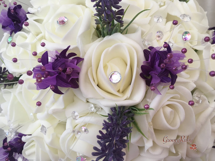 Ivory Roses With Lavender, Purple Babies Breath & Gingham Bow