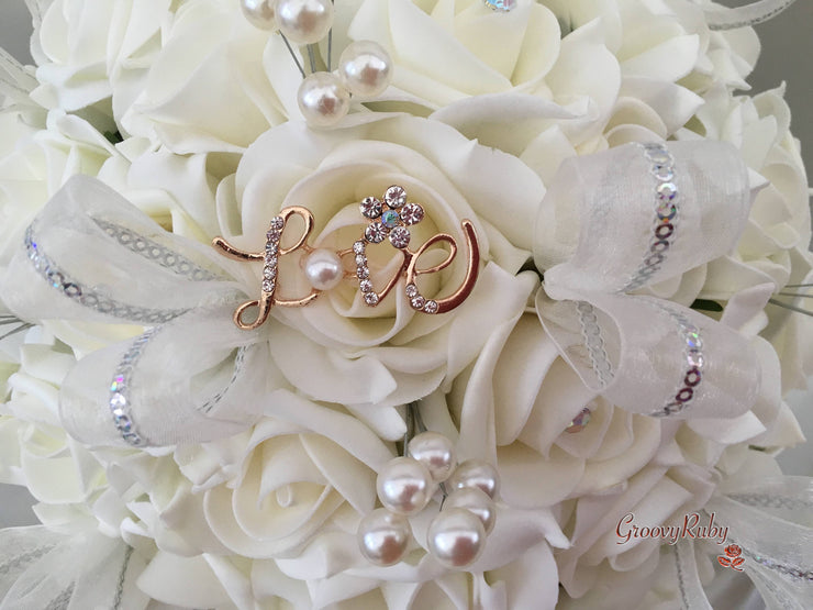 Love Brooch With Pearl & Diamante