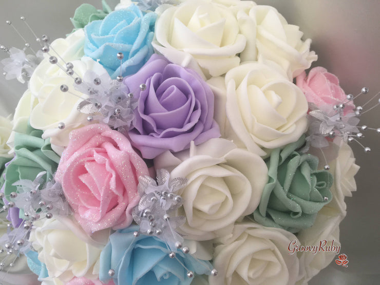 Pastel Glitter Roses With Silver Babies Breath
