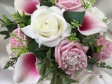 White & Pink Centred Calla Lilies With Roses & Diamanté Oval Filigree Brooch
