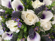 Purple Lilies, Daisies, Lavender & Roses