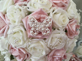 Pearlised Rose Gold & Ivory Roses With Pearl & Diamante Butterfly Brooch & Pearl Loops