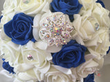 Royal Blue & Ivory Rose With Iridescent Brooches