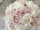 Mocha Pink Glitter Rose With Ivory Babies Breath