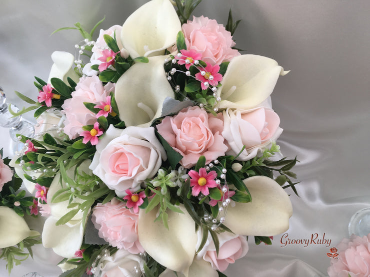 Blush Pink Carnations & Roses With Ivory Calla Lilies & Pink Daisies