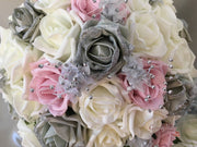 Silver Glitter & Dusky Pink Rose With Silver Babies Breath