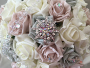 Mocha Pink & Silver Rose With Iridescent Beads & Star Brooch