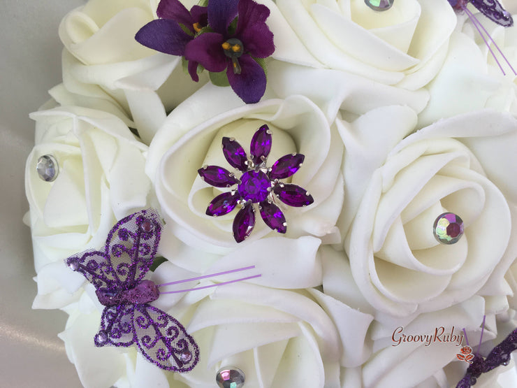 Roses With Purple Victorian Violets, Glitter Butterflies & Brooch