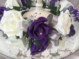 Cadbury Purple & Ivory Rose With Silver Babies Breath Wired Candelabra Table Rings
