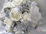Grey & Ivory Large Pearl Glitter Butterfly
