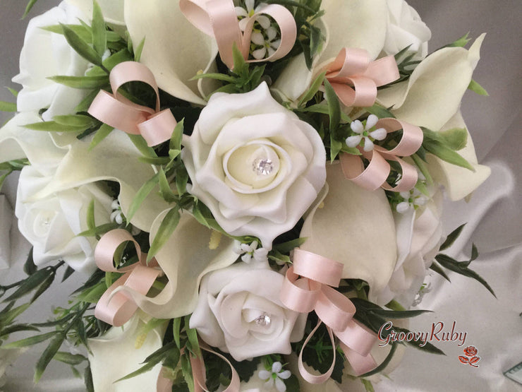 Ivory Rose & Large Calla Lily, Added Champagne Ribbon Loops