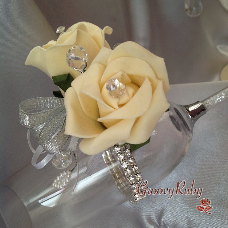 Diamante Wrist Corsage With Cream Roses