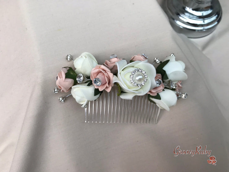 Delicate Mocha Pink With Cool Silver & Vintage Pearl Brooch