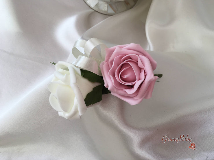 Dusky Pink & Ivory Roses With Dusky Pink Babies Breath & Large Diamanté Pink Brooch