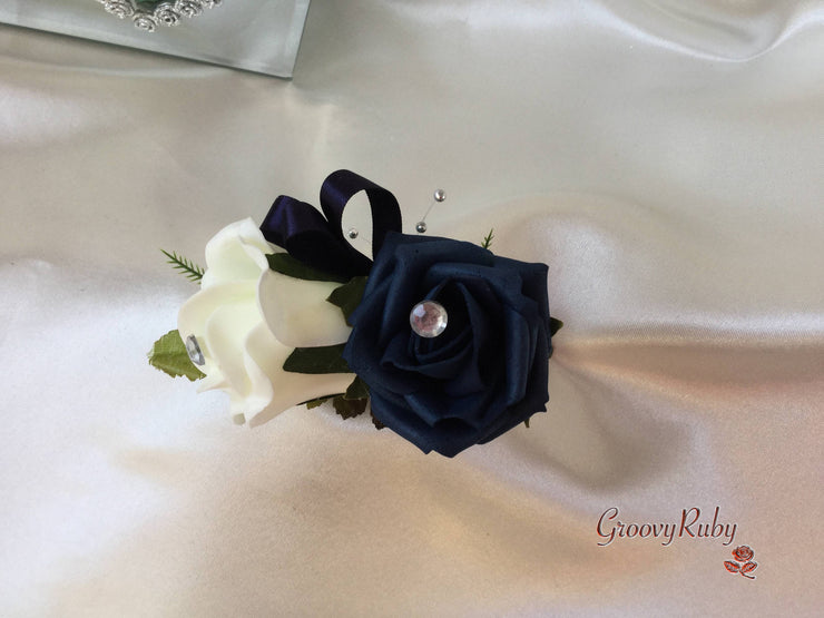 Navy & Ivory Roses With Glitter Butterflies & Silver Babies Breath