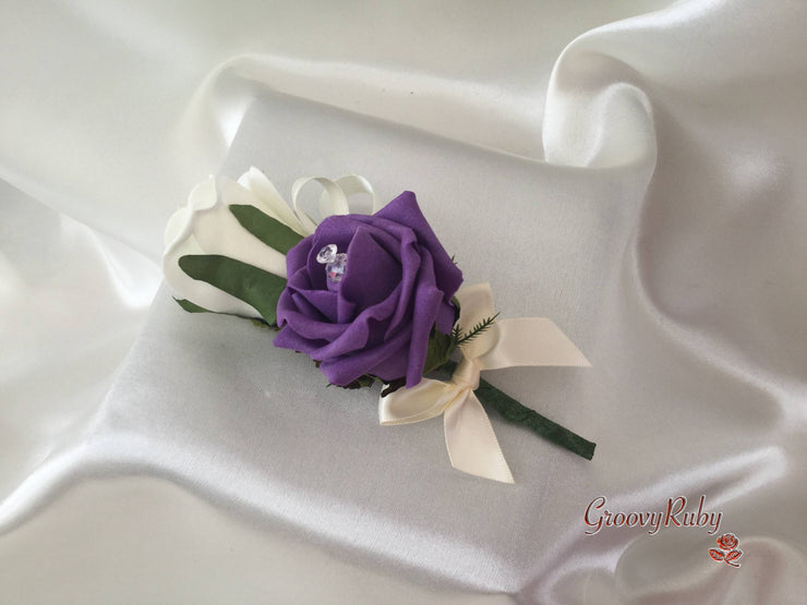 Aubergine & Ivory Rose With Iridescent Brooches