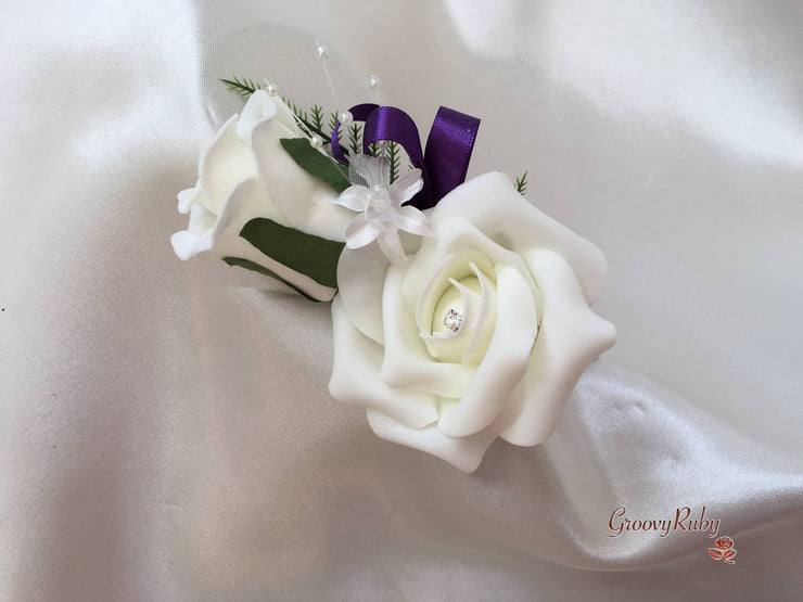 Cadbury Purple & Ivory Rose Crystal With Ivory Pearl Babies Breath