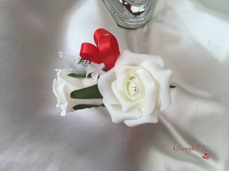 Red & Ivory Rose Crystal With Ivory Pearl Babies Breath