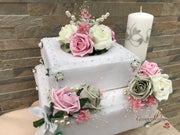 Large Cake Spray Dusky Pink & Grey With Pearls