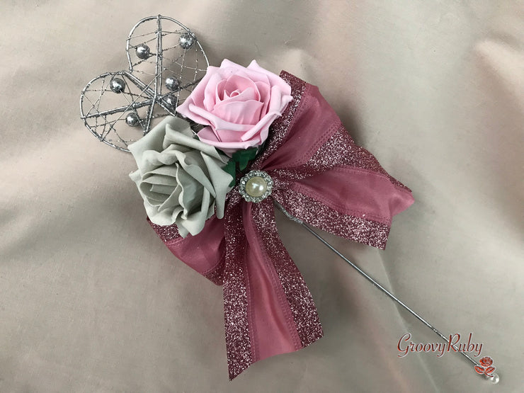 Dusky Pink & Grey With Large Pearl Brooch