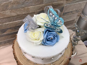 Dusty Blue With Crystal Glitter Butterfly