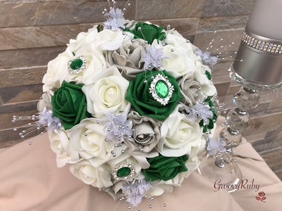 Emerald, Silver & Ivory Roses With Green Diamante Brooch