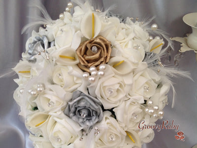 Ivory Silver & Gold Rose, Pearl Sprays, Feather, Calla Lilies