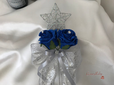Silver Star Flower Girl Wand With Royal Blue Roses & Ribbons