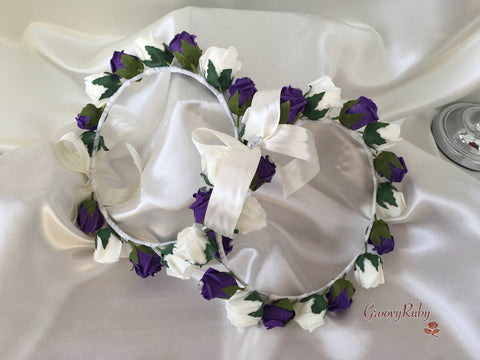 Bridesmaid Flower Head Garland - Purple