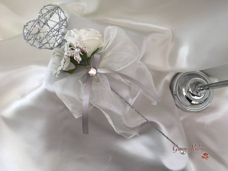 Silver Heart Flower Girl Wand With Silver Carnation & Ivory Rose With Iridescent Butterfly