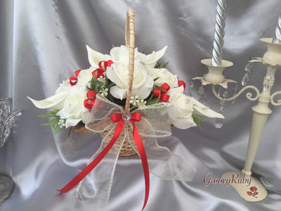 Flower Girl Basket With Added Light Red Ribbon Loops