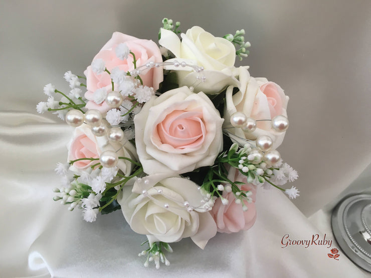 Blush Pink & Ivory Roses With Gypsophila, Pearl Loops & Pearl Sprays