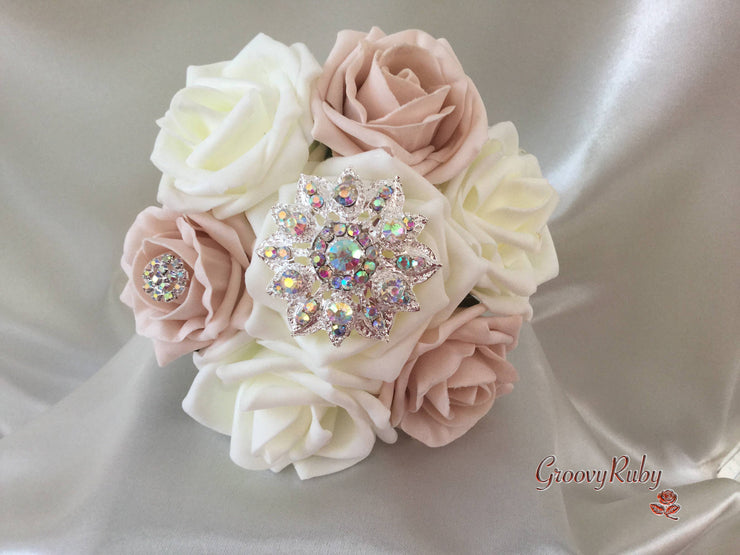Vintage Mocha Pink & Ivory Rose With Iridescent Brooches