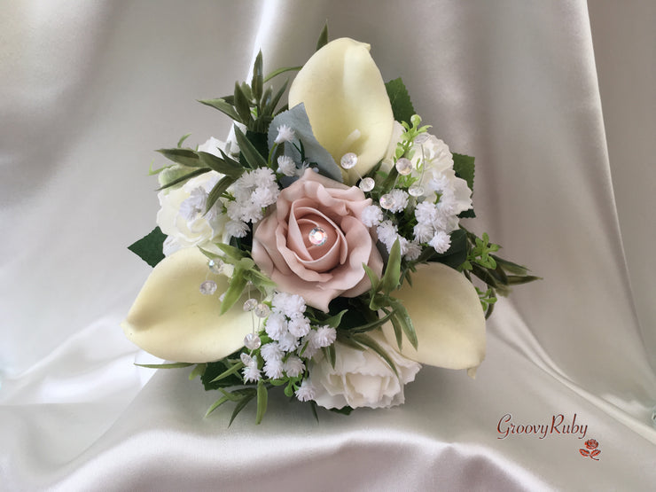 Mocha Pink Roses & Ivory Carnations With Calla Lily & Gypsophila