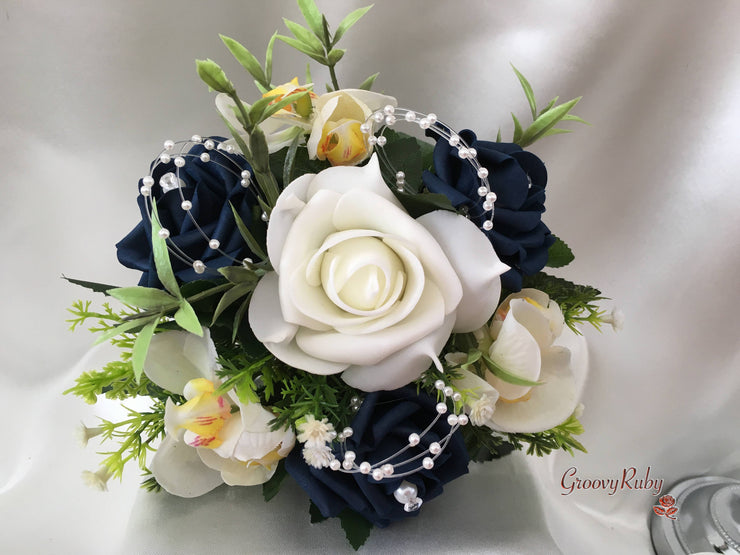 Ivory Orchids With Navy Roses, Foliage & Pearl Loops