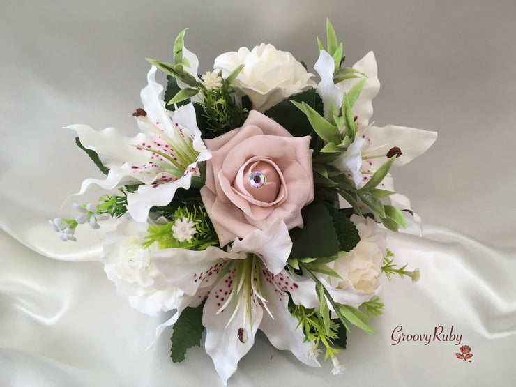 Small Tiger Lilies & Vintage Mocha Pink Roses With Foliage