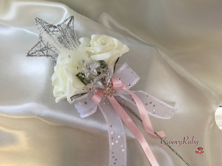 Baby Pink & Ivory Rose With Feathers & Silver Loops & Babies Breath