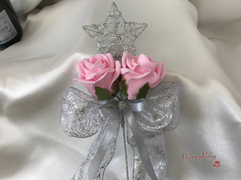 Silver Star Flower Girl Wand With Baby Pink Roses & Ribbons