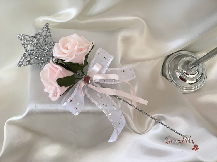 Silver Star Flower Girl Wand With Blush Pink Glitter Roses & Blush Pink Ribbons