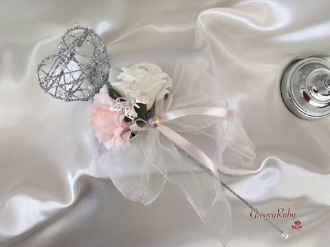 Silver Heart Flower Girl Wand With Blush Carnation & Ivory Rose With Iridescent Butterfly