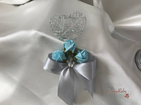 Silver Heart Flower Girl Wand With Baby Blue Rose Buds & Ribbons