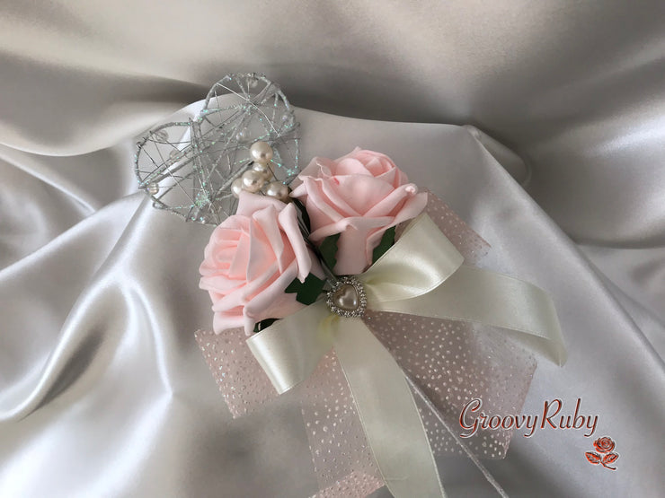 Silver Heart Flower Girl Wand With Blush Pink Roses, Pearl Spray & Ribbons