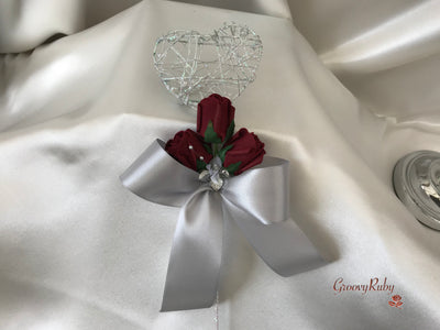 Silver Heart Flower Girl Wand With Burgundy Rose Buds & Ribbons