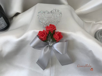 Silver Heart Flower Girl Wand With Coral Rose Buds & Ribbons