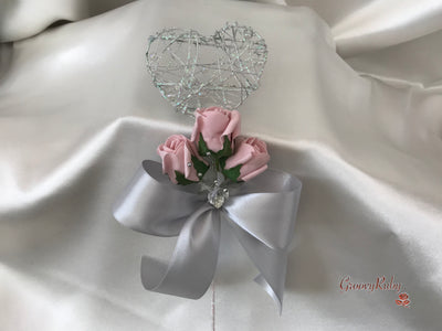 Silver Heart Flower Girl Wand With Dusky Pink Rose Buds & Ribbons