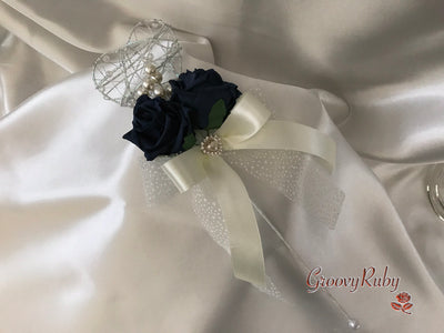 Silver Heart Flower Girl Wand With Navy Roses, Pearl Spray & Ribbons