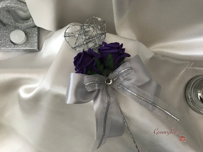 Silver Heart Flower Girl Wand With Purple Roses & Ribbons