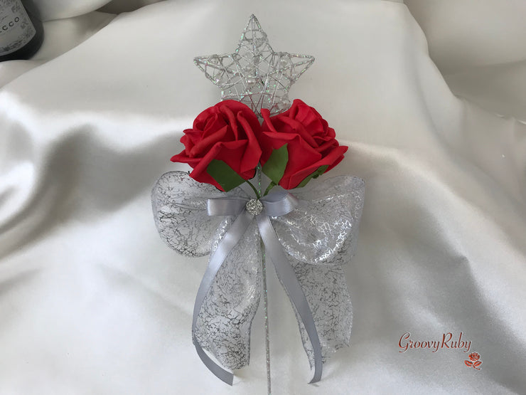 Silver Star Flower Girl Wand With Red Roses & Ribbons