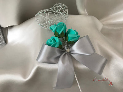 Silver Heart Flower Girl Wand With Tiffany Blue Rose Buds & Ribbons
