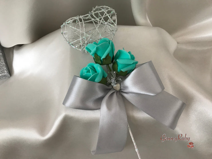 Tiffany Blue & Silver Roses With Delicate Heart Brooch